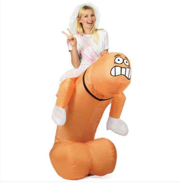 Pene gonfiabile Costume Spaventoso cavalcata su Pene Costume Cosplay per bambini adulti Panno di Halloween Stage Performance Panno 1.5m-2m