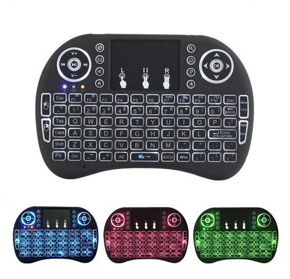 Rii Mini i8 Teclado Sem Fio Retroiluminado Teclados Bluetooth Touchpad jogo Fly Air Mouse Controle Remoto Multi-media Handheld com caixa de varejo