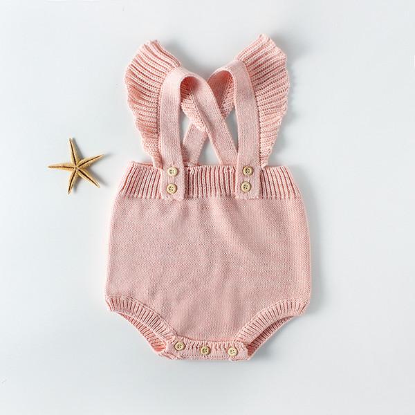 Babyspielanzug-Satz-Säuglingsoverall-Overall-ärmelloses Baby-Jungen-Mädchen-Kleidungs-Herbst-gestrickte Mädchen-Baby-Rosa-Freizeitkleidung