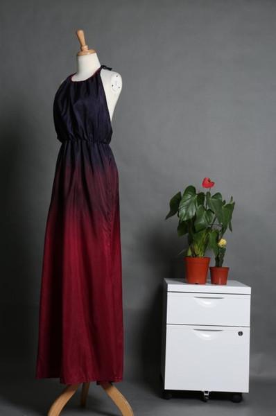 4f1097eac1 Free shipping Beach wear long Beach dress Loose fitting dress sexy slit  halter neck Maxi tie dye dress