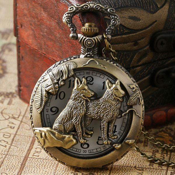Farklı hayvan Oyma Hollow Kuvars Pocket saat Antik Bronz Zodyak Fob Kolye Zinciri ile Womens Womens En Iyi Hediye