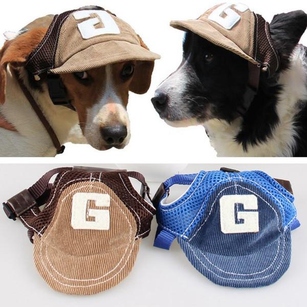 Moda Küçük Pet Köpek Kedi Beyzbol Visor Spor Şapka Kap Köpek Yaz Beyzbol Açık Kulak Delik Sunbonnet Kıyafet Elastik Boyun Askısı