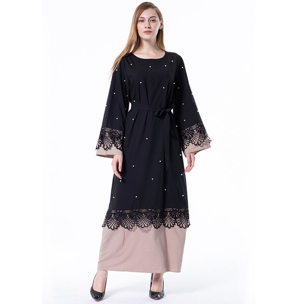 2019 Wholesale Factory Price Muslim Women Patchwork Lace Kaftan Dress Plus Size Islamic Women Prayer Robe S 5xl From Themuslimdress 2434