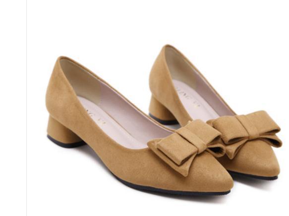 Invia libero Hot Single scarpe 2018 donne nuovo stile primavera tacco basso Tallone tacco punta fine bocca superficiale bowknot scarpe