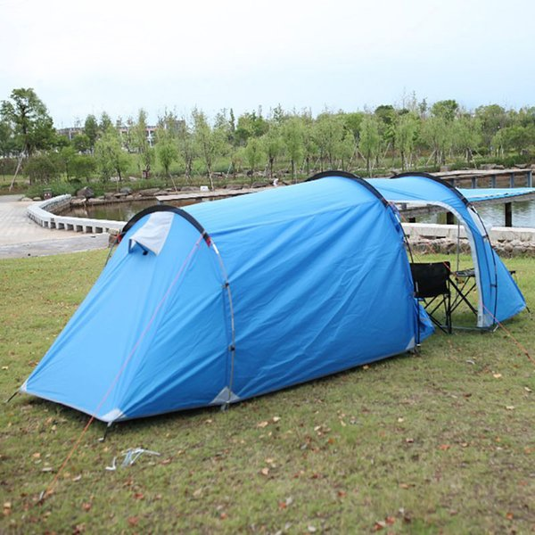STARHOME 3 Person Camping Tunnel Tent Outdoor Waterproof Travelling Beach Tent Blue Green One Room&One Hall Family