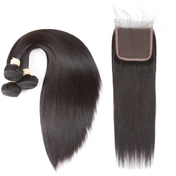 Brésiliens Vierge Cheveux Bundles Droite Vierge de Cheveux Humains 3 Faisceaux avec 4 * 4 Fermeture de Dentelle Couleur Naturelle Non Transformés Gratuit Moyen 3 Partie