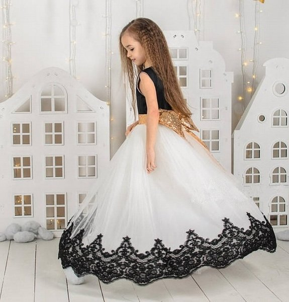 Special Occasion Black Lace Gold Bow Pincess Pageant Flower Girl Dresses Party Dress Kids Prom Gown Children Dress DHA24