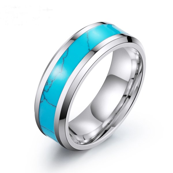 stainless steel turquoise rings for women and men 316 I titanium steel quality aniversary gift 5pcs a lot