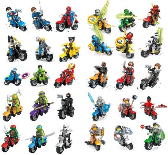 Super hero Mini Figures Motorcycle Building Blocks Bricks toys Batman Superman Iron Man Hulk Logan for kids gifts