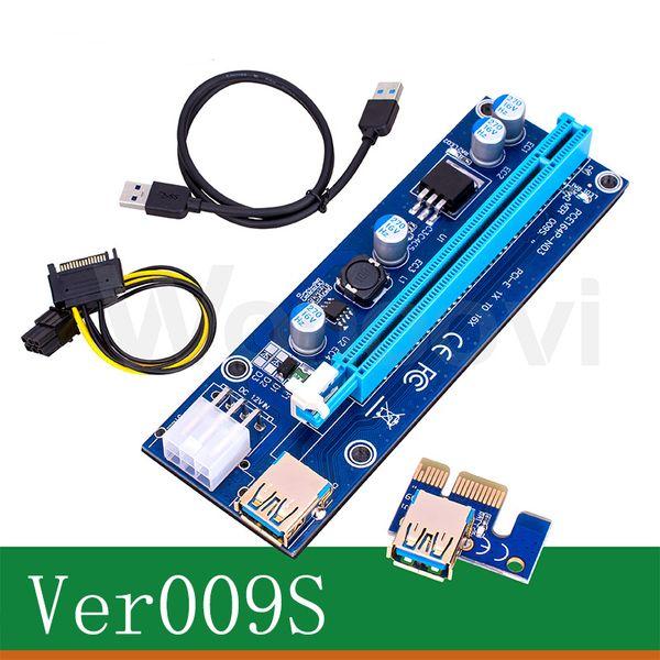 Ver 009S 60cm USB 3.0 PCIe Riserkarte PCI-E Express 1x auf 16x Extender Riserkarte USB Adapter SATA 15Pin-6Pin Power BLAU Rot Schwarz Kabel