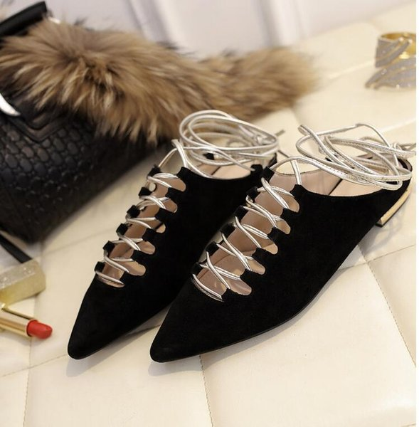 women sandals for party matte real leather cross tied lace up shoes pointed woman sandals outside walking shoes ladies