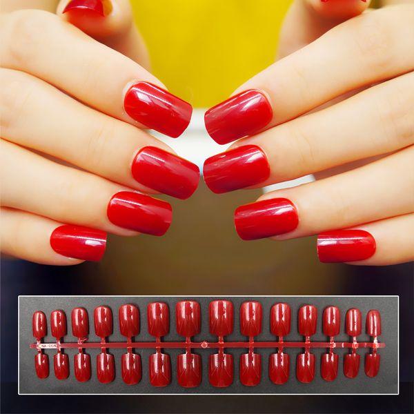 40 Colors Medium Length False Nails Tip French Full Cover Fake Nails Artificial Nail Art Decoration Fashion Free Shipping Y18101101