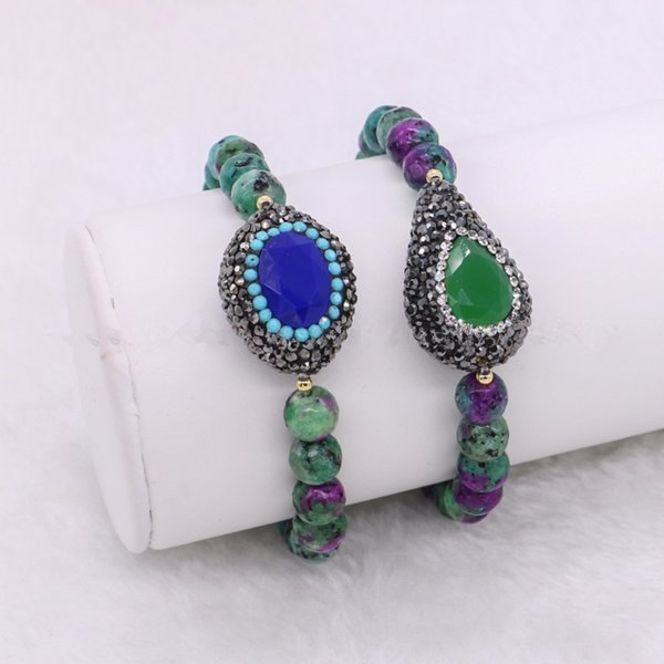 5 Pieces Handcrafted Green Natural Stone Beads Bracelet Fashion Women Link Chain Wrap Strands Bracelet Bangle Wholesale