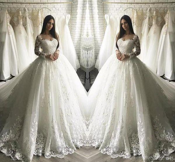 Princess Ivory Full Lace Sheer Long Sleeves Formal Wedding Dresses Dubai Arabic Muslim A-line Tulle Bridal Gown Beach Garden Wedding Wear 34