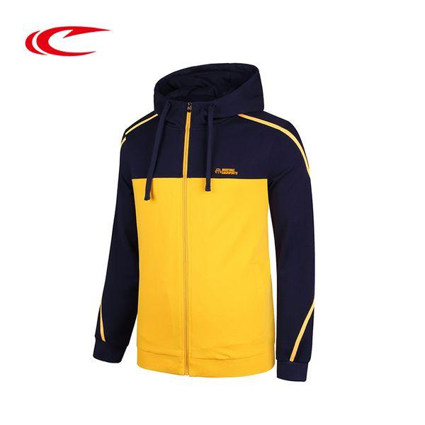 SAIQI Men Running Jacket Stitching Style Sport Jacket Breathable Running Training Hooded Sweaters Zipper Hoodies Sport