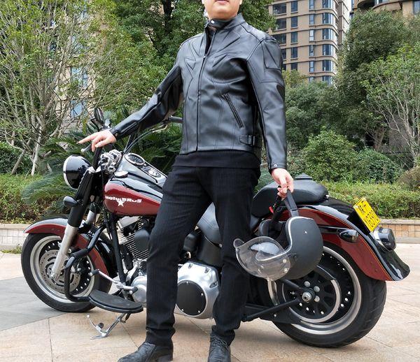 Hot sales Men PU winter jacket professional racing jacket motorcycle delivery 5 sets of protective gear waterproof