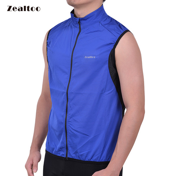 Zealtoo Reflective Blue Cycling Vests Sleeveless Windproof Cycling Jackets MTB Road Bike Bicycle Jerseys Top Clothing Wind Coat