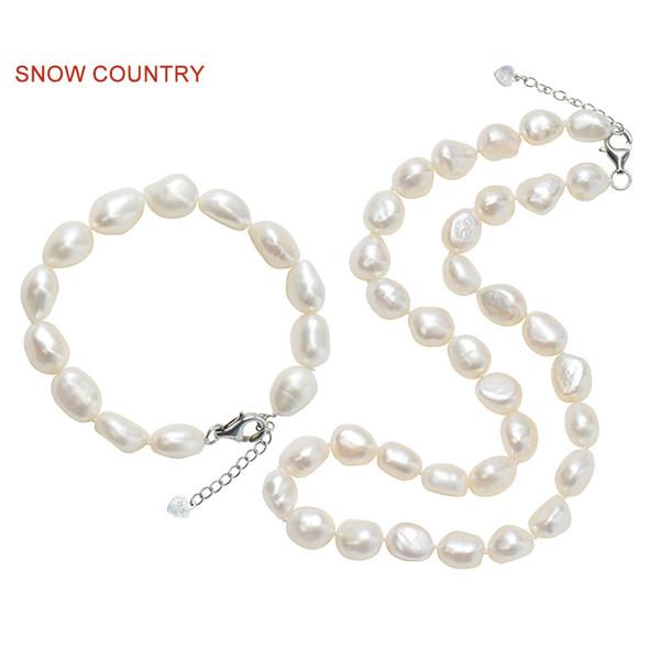 e0f83f0f2f9f SNOW COUNTRY 9-10mm Real barroco collar de perlas pulsera conjunto completo  a juego de