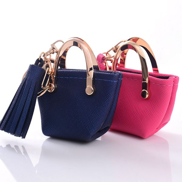 Small bag Keychain Mini Coin Purse gray Pink blue red Decoration Key chains PU Leather Bag Storage Pendant Fashion Jewelry