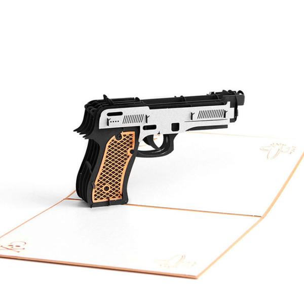Carte da regalo d'annata della pistola di Kirigami della pistola di taglio di carta dell'invito del partito di graduazione delle cartoline di carta di pop-up 3D Trasporto libero