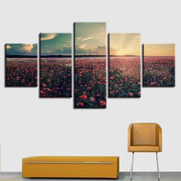 Canvas Printed Pictures Modular Wall Art Framework 5 Pieces Sunset Red Flowers Sea Painting Abstract Scenery Poster Home Decor