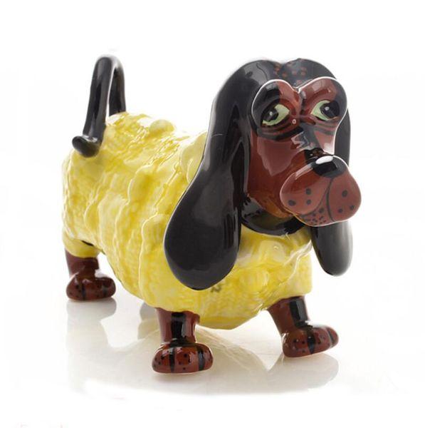 Dackel Dackel Keramik Dackel Hund Home Decor Handwerk Dekorieren eines Raumes Keramik Ornament Porzellan Tierfigur