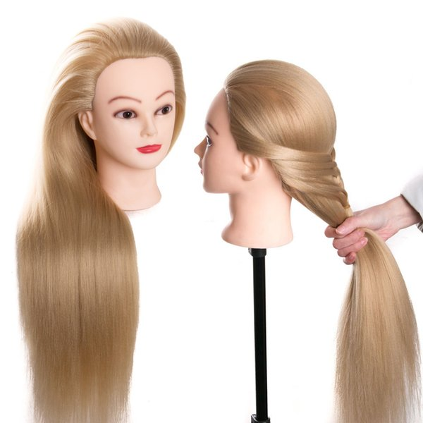 synthetic mannequin head dolls for hairdressers 70 cm hair hairstyles Female Mannequin Hairdressing Styling Training Head bonde