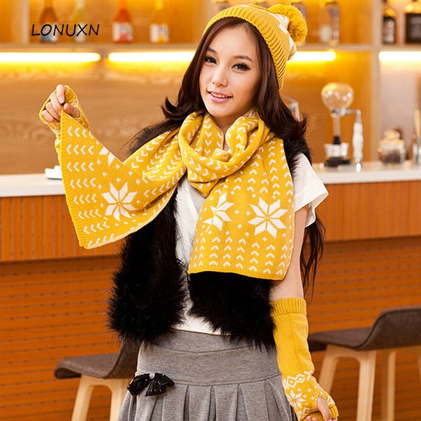 High quality 3 pieces/lot 7 colors Hats+ scarves+ gloves Korean fashion winter women warm knitting Snowflake Christmas gift