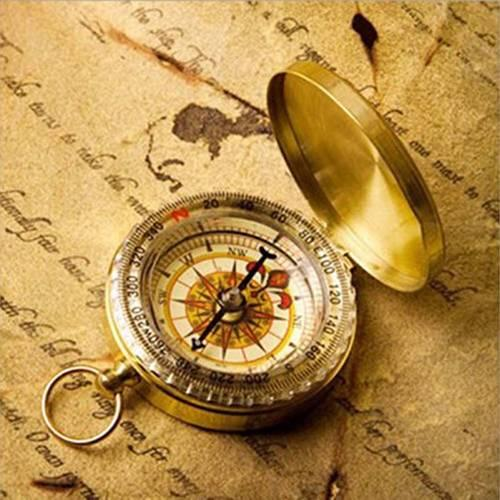 New Portable Pocket Brass Watch Style Compass Camping Hiking Outdoor Keychain Brass Watch Compass Gold color