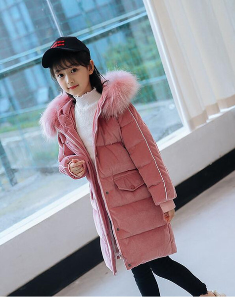 Wholesale price Children's down jacket new 2018 girls in the long section of the big children's white duck down children's jacket
