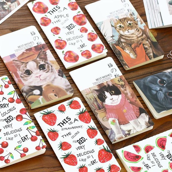 Wholesale- 1Pc Fruit and Cat Pattern Craft Paper Notebook Journal Diary Notepad Soft Copybook Cute Stationery School Office Supplies