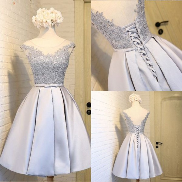 Cheap Silver Cocktail Dresses Short With Lace A Line Taffeta Mini Prom Dresses Formal Girls Sweet 16 Special Occasion Party Gowns Custom