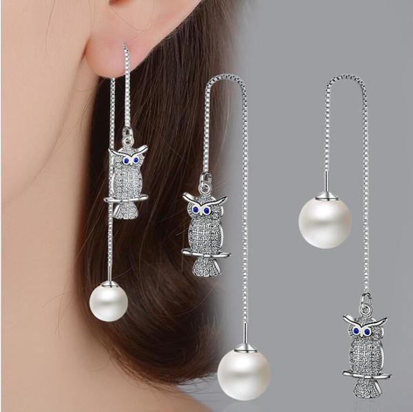 Blue Eye Owl Pearl Orecchino lungo linea Orecchino 925 Sterling Silver Carino Cubic Zirconia Orecchini per le donne Ragazze Shambhala Jewelry Ciondola Earing