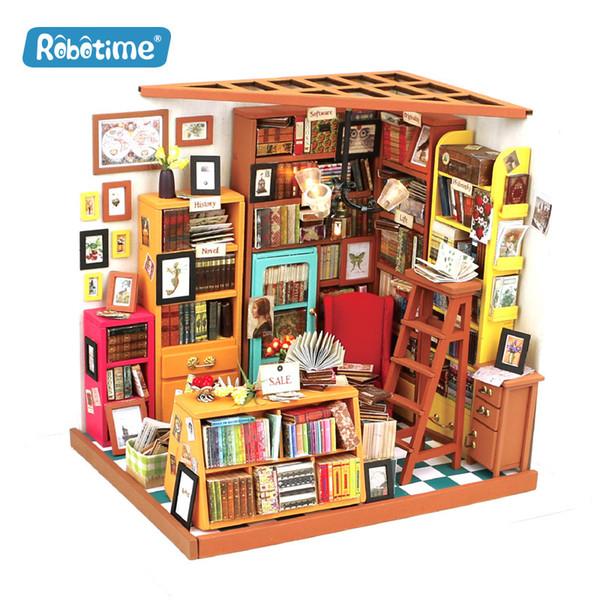 Книжный магазин западного стиля ручной сборки DIY cabin toys, творческие продукты, деревянные подарки, игрушки, которые могут культивировать детскую автономию!