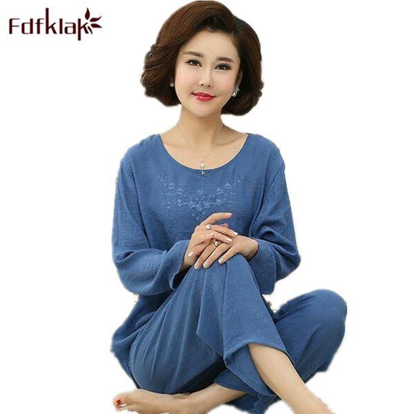 FDFKLAK XL XXL 3XL 4XL большой размер женский домашний костюм весна осень с длинным рукавом женщины пижамы пижамы наборы пижамы Femme CotonQ598