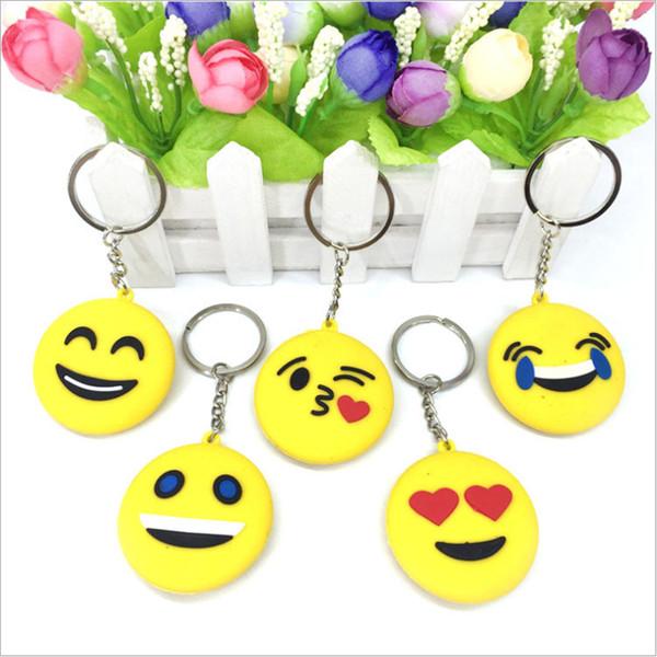 Cheap Cute Design Vari Emoji Cartoon Character Piccolo portachiavi Emozione Giallo QQ Espressione Farcito PVC Doll Toy 9 Disegni King Ring