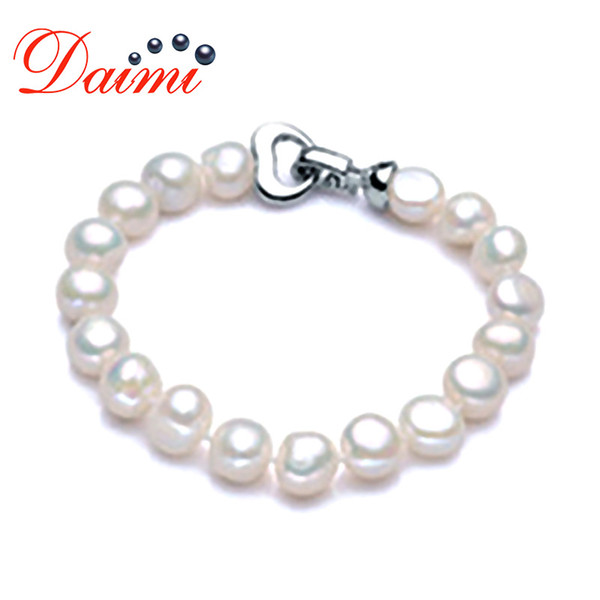 DAIMI Trendy Baroque Pearl Bracelet Perla bianca naturale d'acqua dolce colore bianco, regalo per le donne