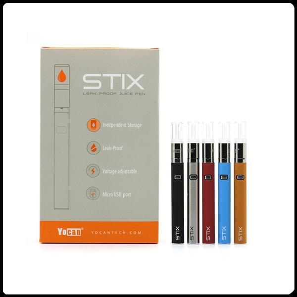 Auténtica Yocan Stix Vape Pen Vaporizador portátil Kits de arranque Baterías de voltaje variable Bobina de cerámica con diseño a prueba de fugas Cigarrillo electrónico