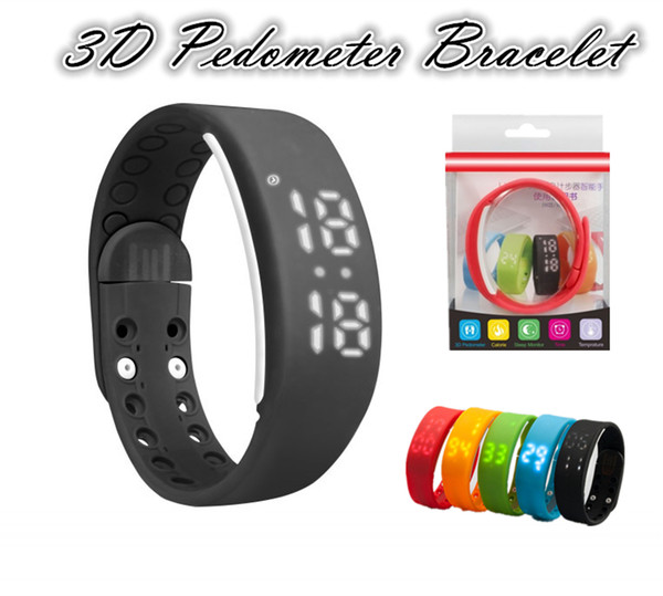 W2 Pulseras Multifunción USB Pulseras Inteligentes Reloj Pulsera Delgada Relojes Pulsera Rushed Step Fitness Tracker Podómetro 3D Monitor del Sueño