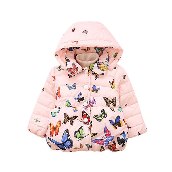 Moda kızlar ceket Bebek Bebek Sonbahar Kış Kapşonlu Kelebek Ceket Pelerin Ceket Kalın Sıcak Giysiler güzel kızlar düşük fiyat