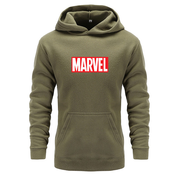 2018 New Marvel Letter Print Black Sweatshirt Men Hoodies Fashion Hoody Solid Pullover Men's Tracksuits Male Coats