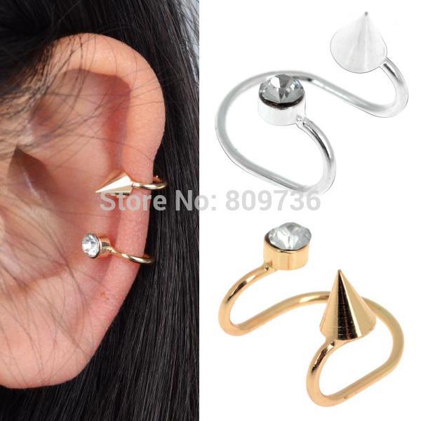 1PC Chic Crystal Punk Rivet Spike Ear Bones Cuff Clip Earring No Puncture Rhinestone Women Jewlery Drop Free