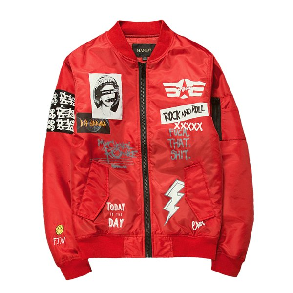 New Street fashion Men Bomber MA1 jacket Retro Embroidery Coat Printing Design Black Red Army green