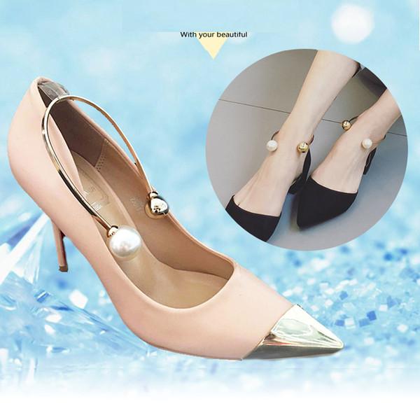 1 Pair U-shaped Metal Pearl Shoes Accessories Anti-loose Shoes Ornament Elegant Belt For Women's High Heels