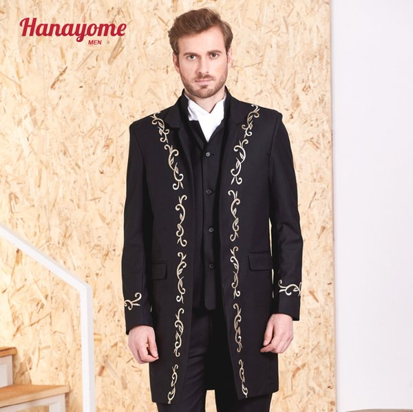 Men's 3pc Black Blazer 2017 Fashion Golden Embroidery Suit Brand Design Wedding Groom Coat Tuxedo Plus Size XS-2XL SI94