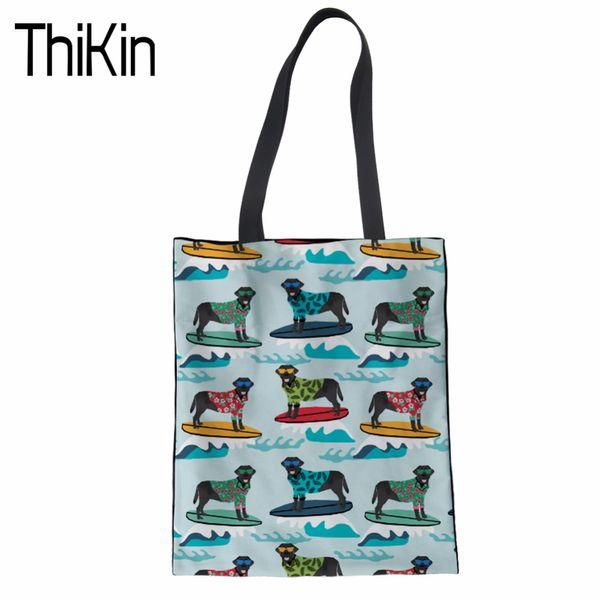 THIKIN Toile Sacs à provisions pour femmes Eco réutilisable pliable noir Labrador impression sac à bandoulière Sac à main Fourre-tout Coton Tote Bag