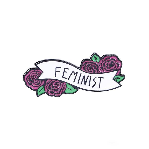 Flor Cinta Broche Feminista Flor Colorida Bandera Esmalte Pin Sombrero Camisa Botón Insignia Amigo Feminista Regalo