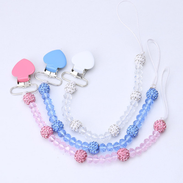 Crystal Baby Pacifier Clips Soother Holder Anti Folder Pacifier Clip Chain Dummy Nipple Holder Baby Pram Hook Hanging Strap free shipping
