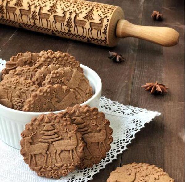 top popular 43cm Christmas Beech Wooden Embossing Rolling Pin Baking Cookies Biscuit Fondant Cake Dough Engraved Roller Reindeer Snowflake DH092 2020
