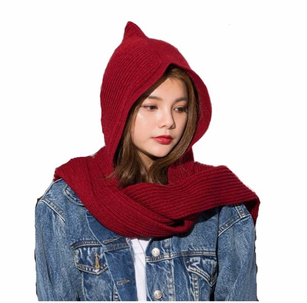 2018 Brand Design Women's Hooded Scarf Winter Wool Knitted Earflap Hats Snood Wraps Solid Crochet Scarves and Hat for Girl S18101904